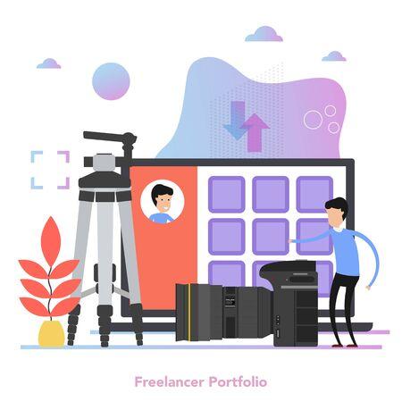 Square concept of personal photo portfolio in flat Ilustração