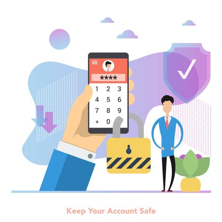 Man with phone locked by a password for secure login
