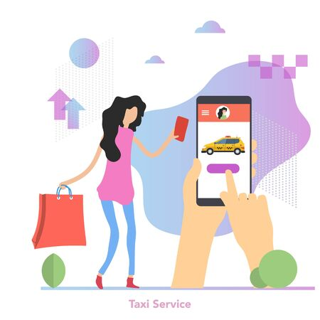 Vector illustration of pretty woman with shopping bag calls a taxi by phone in hands. Easy city service. Modern illustration with gradient elements, green leaves and clouds Ilustração