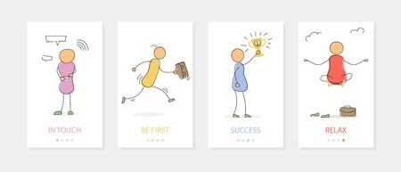 Vector hand drawing illustration of successful businessmen in action. Four vertical mobile banners with text. Concept of meditation, run to victory, gain of reward, easy communication by mobile device Ilustração