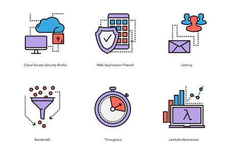 Vector set of linear internet data characteristic icons. Latency, bandwidth, firewall, lambda, abstraction and user wirh server. Conceptual illustration in flat colors