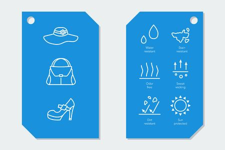 Icons for fabric material properties on two labels