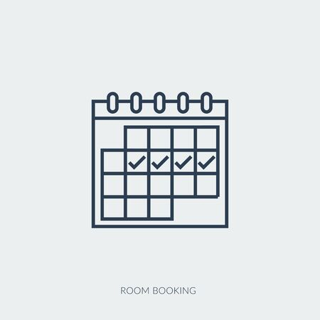 Vector outline icon of reservation of apartments, house booking