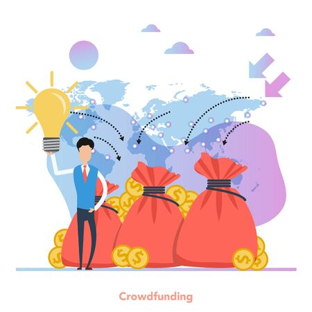 Square concept of crowdfunding - successful business start up