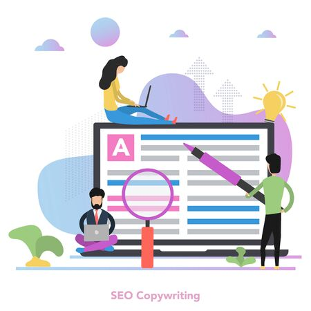 Vector square concept of Seo Copywriting in flat