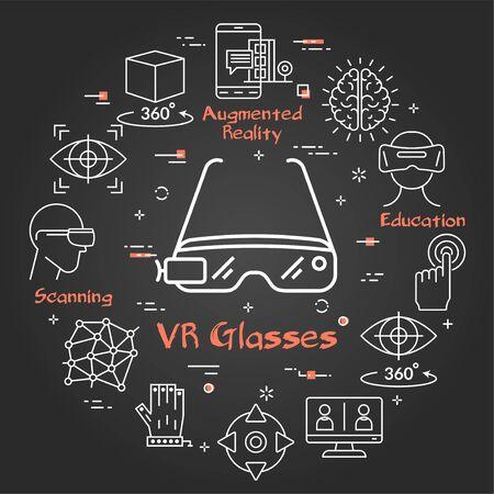Vector black virtual reality concept - VR glasses Ilustracja