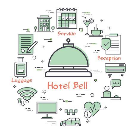 Vector hotel service square concept - Hotel Bell icon