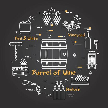 Vector black banner winemaking - barrel of wine icon
