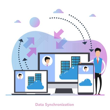 Vector square concept of data synchronization in flat Иллюстрация