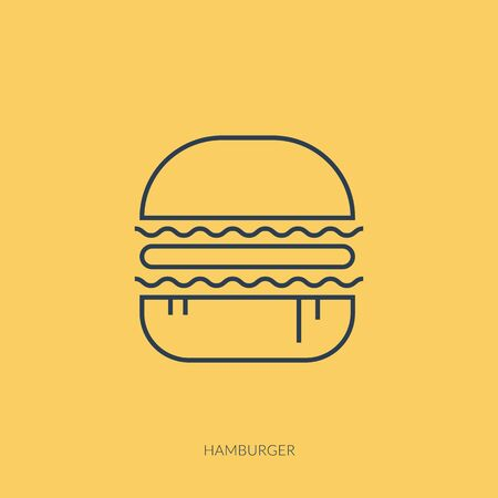 Vector outline icon of barbecue and picnic - hamburger