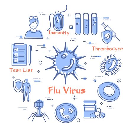 Vector concept of bacteria and viruses - flu virus icon