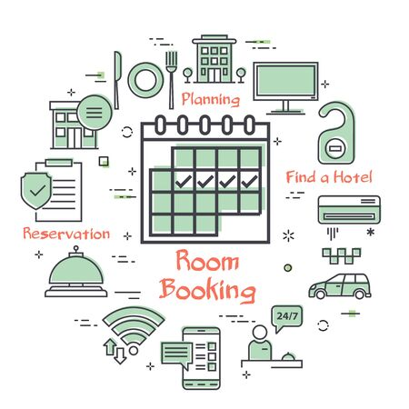 Vector hotel service square concept - Room Booking