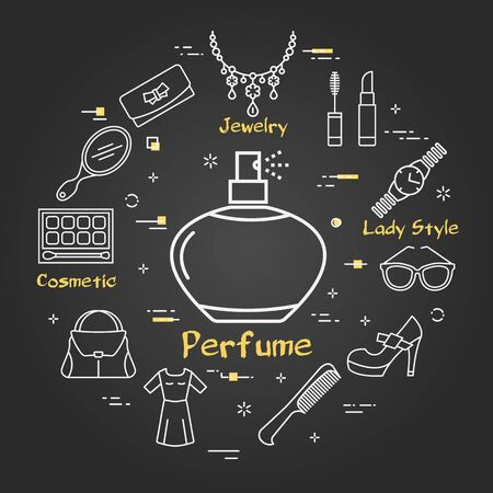 Vector line black round concept of aromatic perfume vessel. Cosmetic, jewelry, hygiene items, clothing, shoes and other womens accessories shown by outline icons arranged on modern web banner