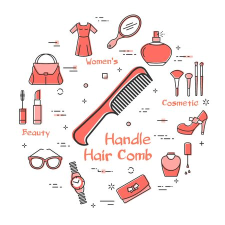 Vector line red round banner of handle hair comb. Cosmetic, jewelry, clothing, shoes and other womens accessories shown by outline icons arranged on white modern web banner. Daily hair care concept