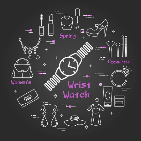 Vector line black round concept of wrist watch. Cosmetic, jewelry, hygiene items, clothing, shoes and other womens accessories shown by outline icons arranged on modern web banner Ilustracja