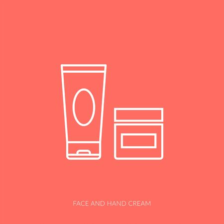 Vector outline icon of woman accessories - face and hand cream