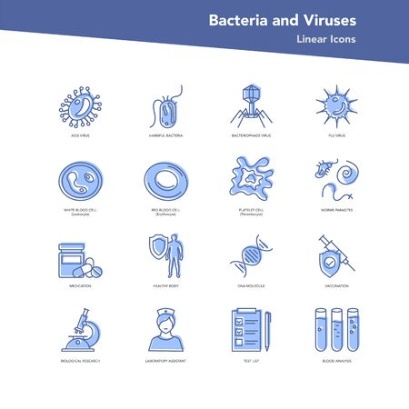 Vector color set of linear icons - Bacteria and viruses