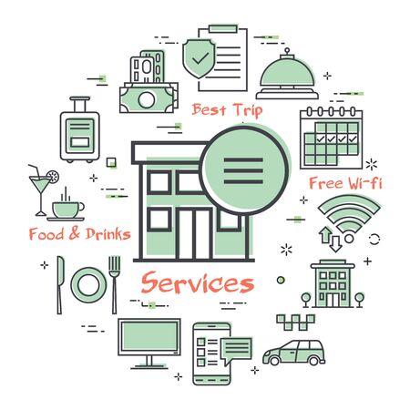 Vector hotel service square concept - Hotel Online Service