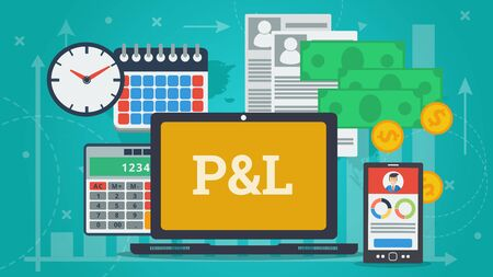 Vector flat horizontal banner Profit and Loss Report concept. P and L text on monitor screen, money, document papers, calculator and devices for a counting about incomes and material business losses