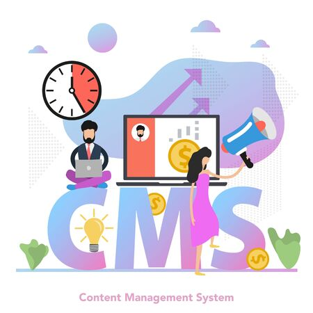 Vector illustration with flat gradient elements. Businessman with computer and woman with megaphone as concept of content management system CMS