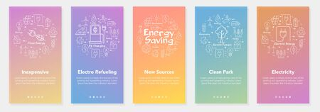 Vector five vertical web site modern mobile banners for ecology and alternative energy sources. Set of onboarding app screens, slide template with white enegy saving line icons on gradient background
