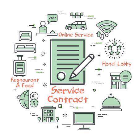 Vector hotel service square concept - Service Contract Stockfoto - 142050055