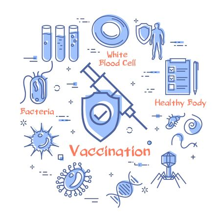 Vector concept of bacteria and viruses - vaccination syringe icon