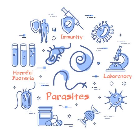 Vector line round banner of bacteria and viruses and infection. Worms and parasites icon in center. Laboratory, medical research, blood test and healthy immunity icons with red promo text