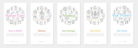 Vector five vertical web site modern mobile banners for ecology and alternative energy sources. Set of onboarding app screens, slide template with human care line icons on white background