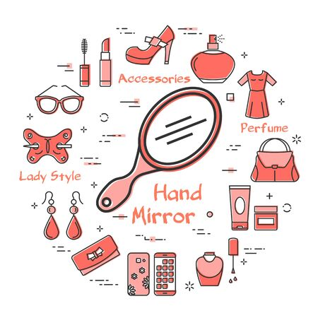 Woman Accessories Concept with Red Hand Mirror Icon