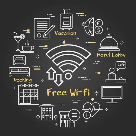 Vector black hotel service square concept - Free Wifi 向量圖像