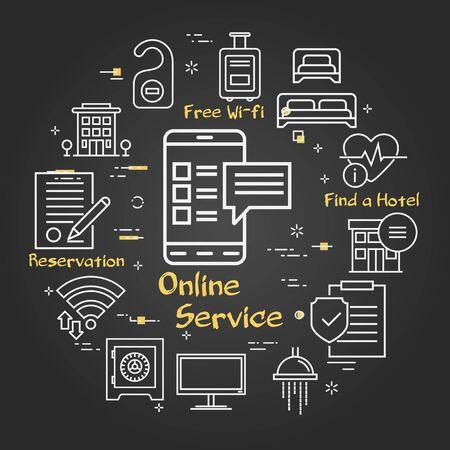 Vector black hotel service square concept - online service icon 向量圖像