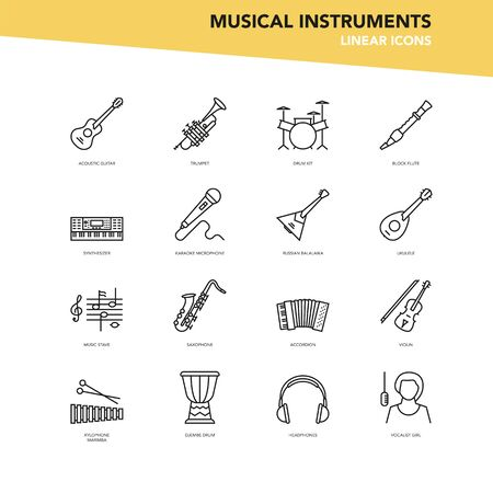 Vector set of linear icons - Musical instruments