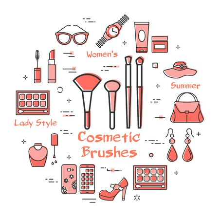 Woman Accessories Concept with Red Cosmetic Brushes Icon Vektorgrafik