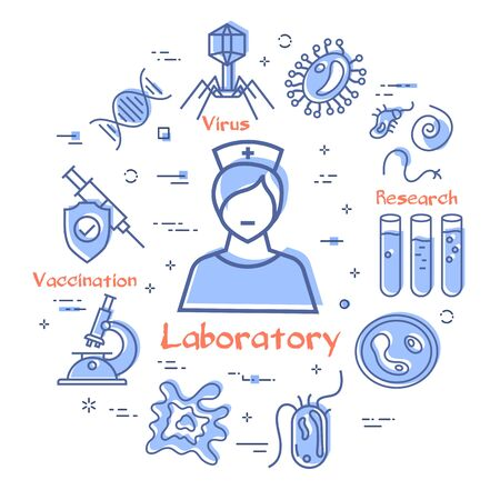 Vector line concept of analysis laboratory woman