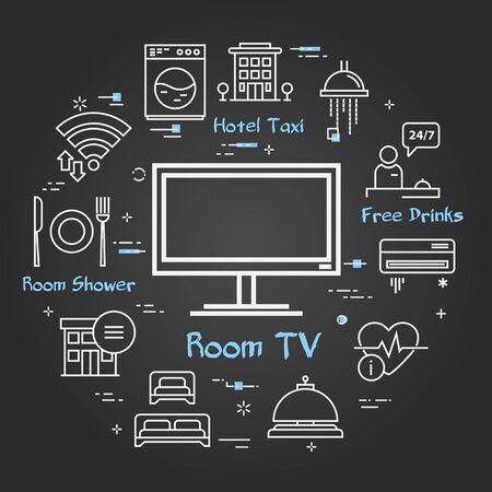 Vector black hotel service square concept - TV in room