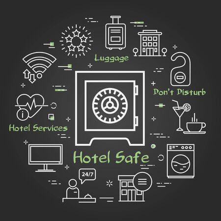 Vector black hotel service square concept - Hotel Safe 向量圖像