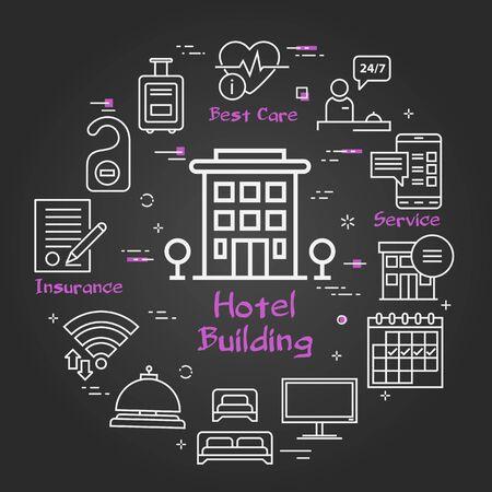 Vector black hotel service square concept - Hotel Building