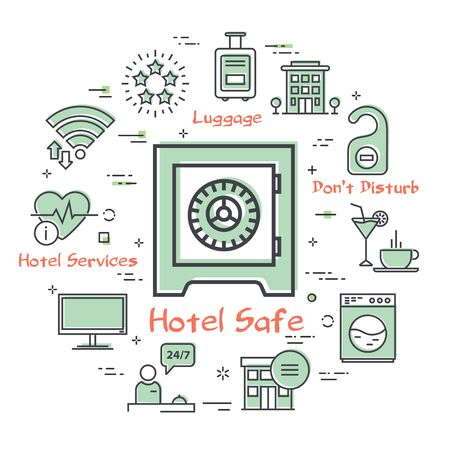 Vector hotel service square concept - Hotel Safe