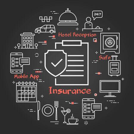 Vector black hotel service square concept - Hotel Insurance Paper