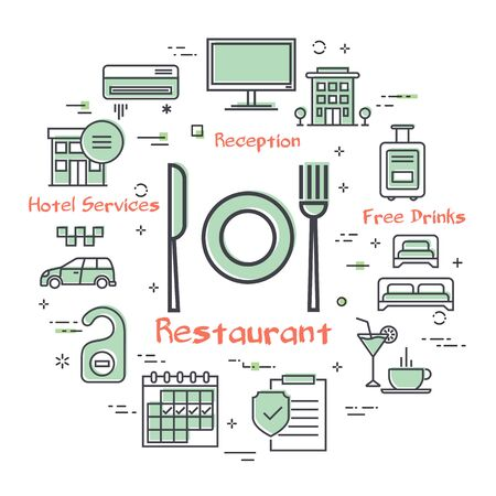 Vector hotel service square concept - restaurant in the hotel