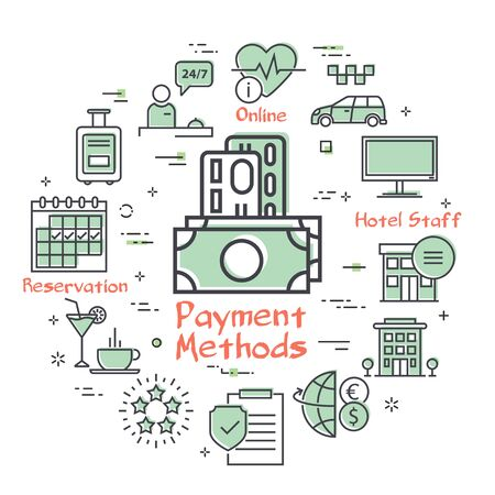 Vector hotel service square concept - Hotel Payment Methods
