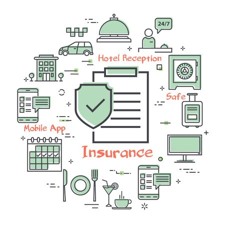 Vector hotel service square concept - Hotel Insurance Paper Ilustração