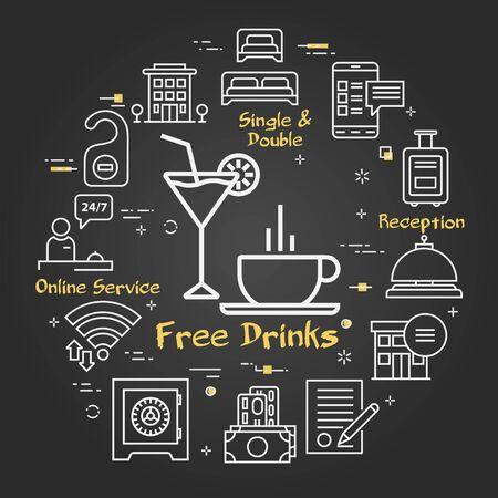 Vector black hotel service square concept - Free Drinks Ilustração