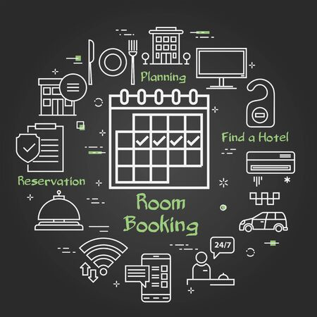 Vector black hotel service square concept - Room Booking
