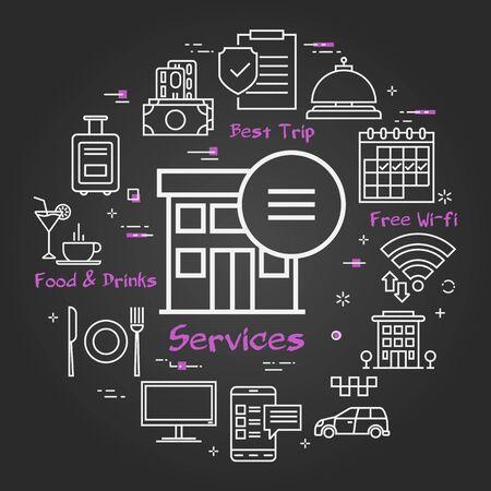 Vector black hotel service square concept - Hotel Online Service Ilustração