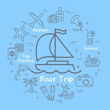 Vector linear round banner of sea yacht or boat with sail and outline summer vacation icons are arranged in circle. Concept of summer activity - windsurfing, kite surfing and diving on blue background