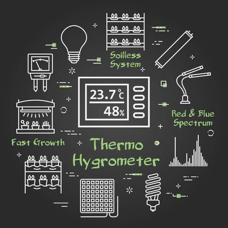 Vector black concept of hydroponic and growth led light - thermo hygrometer