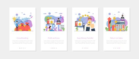 Vector vertical web site mobile banners for crowdfunding, profit and loss, money transfer, return on sales concept. Set of onboarding app screens, slide template with flat ilustrations on white