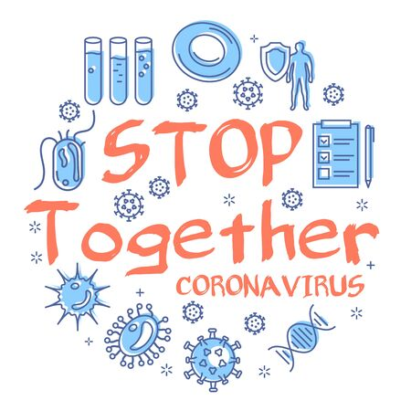 Vector linear concept of coronavirus - STOP TOGETHER sign
